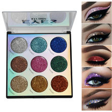9 Colors Makeup Beauty Glitter Eyeshadow Pallete Eye shadow Palette Shimmer and Shine Diamond Eyeshadow Powder Pigment Cosmetics(China)