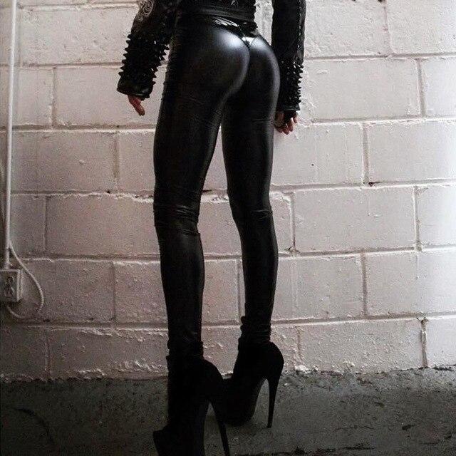 6cf5674584173 2018 Winter Gothic Women Sexy Black PU Leggings Scrunch Butt Push Up Faux  Leather Leggings Matt Finish Slim Latex Pants Skinny