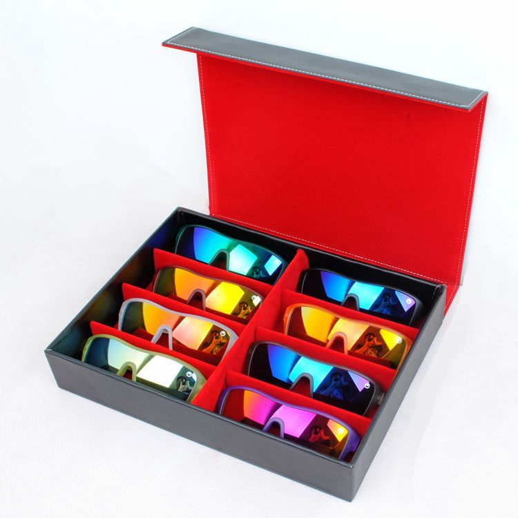 Quality Black Display Case Leather Sunglasses Organizer Box Family Eyewear Storage Usage 8 Compartments