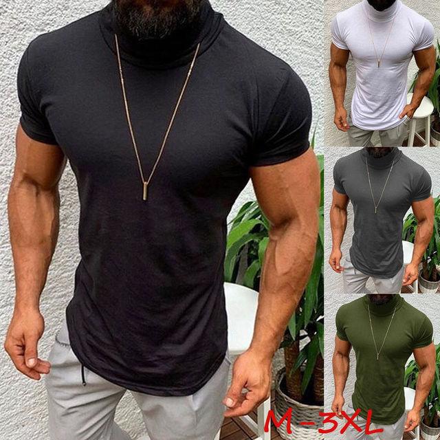 72e720c5 2019 New Style Fashion Hot Men's Sale Tee Designer Short Sleeveless Hem  Solid Muscle Fit Turtleneck T shirt
