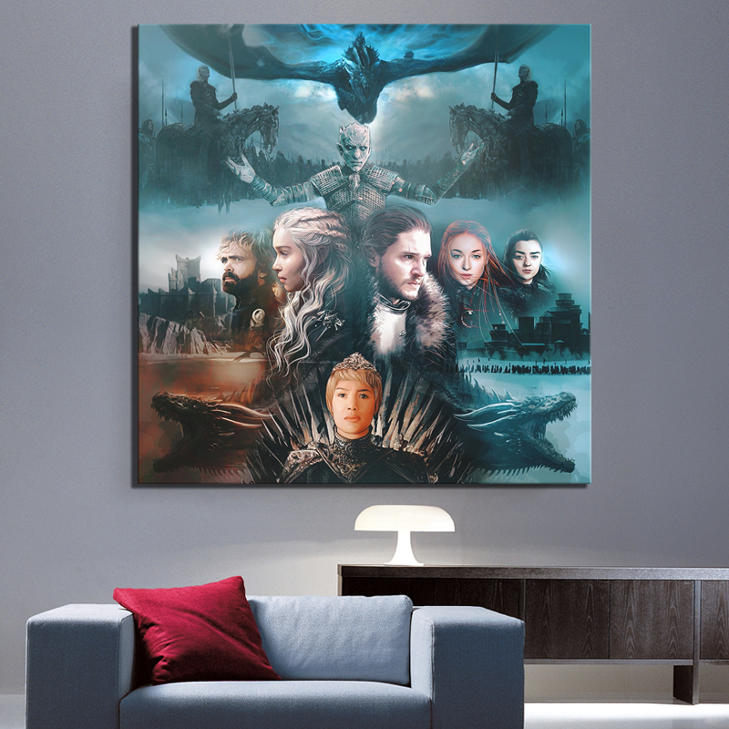 1 Piece Game of Thrones Movie Poster Painting Artwork A Song of Ice and Fire Poster Canvas Art Wall Painting for Home Decor in Painting Calligraphy from Home Garden