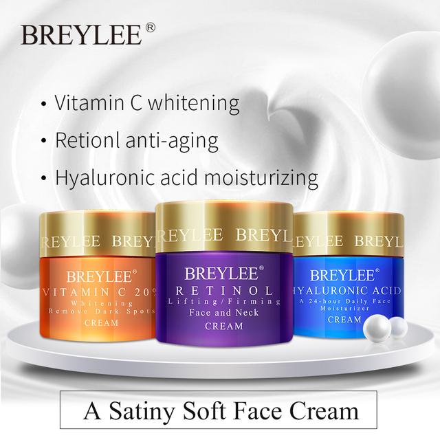 BREYLEE Hyaluronic Acid Moisturizing Vitamin C Face Cream Retinol Anti Wrinkle Whitening  Acne Treatment Day Cream Skin Care 40g