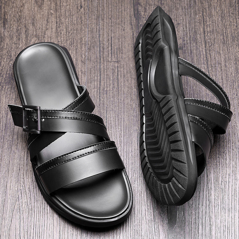 Must Have Buckle Strap Man Slippers Outdoor Genuine Leather Narrow Band Summer Sandals Beach Holiday Shoes Flip Flops in Slippers from Shoes