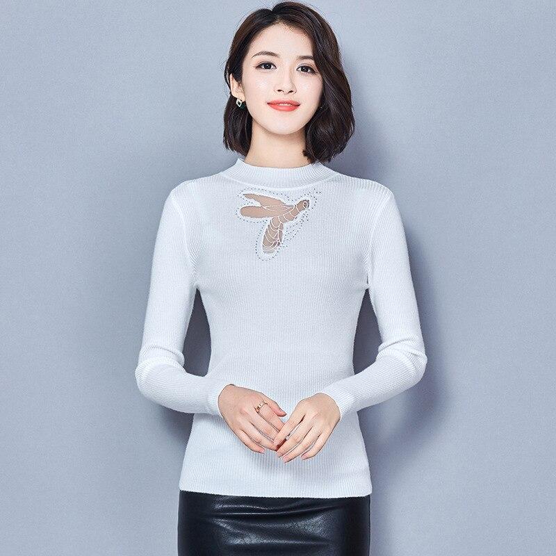 2018 automne nouveau modèle Code auto-culture mince solide couleur à manches longues col rond chandail rendu non doublé vêtement supérieur