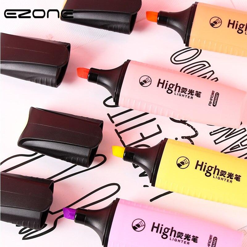 EZONE Highlighter Oblique Marker Pen Orange/ Pink/ Purple/ Yellow Kids Graffiti Painting Pen School Office Stationery Supply