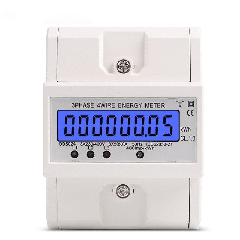Din Rail 3 Phase 4 Fil Électronique Watt consommation électricité compteur d'énergie Wattmètre kWh 5-80A 380 V AC 50Hz écran rétro-éclairé lcd