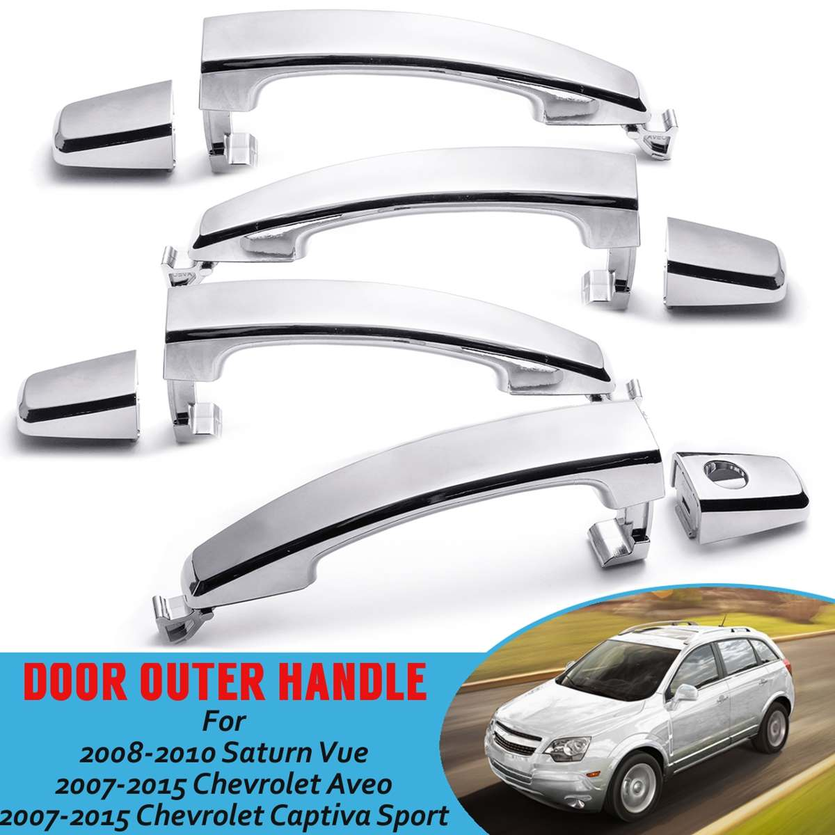 Sizver Chrome Door handle cover For 2013-2014 Chevy Malibu No passenger side keyhole