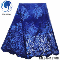 BEAUTIFICAL blue lace embroidery fabrics african tulle french lace fabrics 5 yards 2019 laces ML34N137