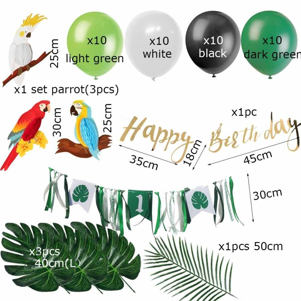 47pcs Jungle Party First Birthday Boy Girl Decorations With Balloons Hanging Banners Summer