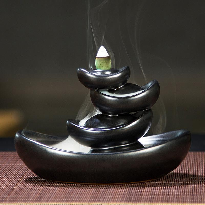 Ingots Backflow Incense Burner Smoke Waterfall Holder Traditional Chinese Ceramic Censer
