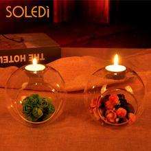 Стеклянный подсвечник-шар держатель Террариум безделушка прозрачная ваза Свадебный домашний декор
