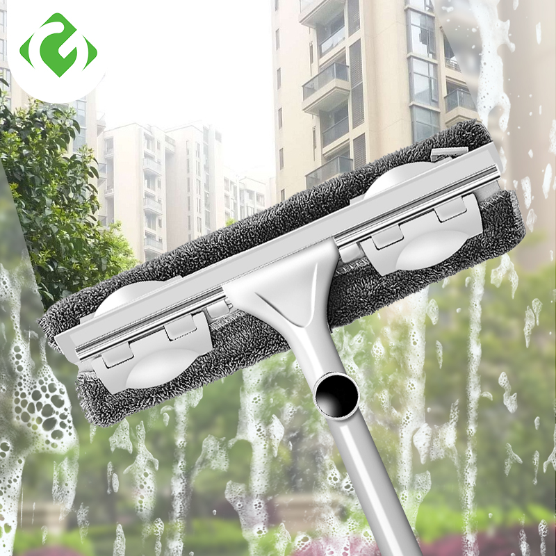 GUANYAO Long Handle cleaning brush Window Cleaner Glass Squeegee Telescopic rod rotating head With cleaning cloth Rubber wiper