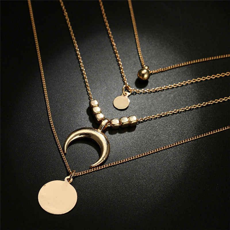Creative multicouche ras du cou corne longue croissant collier chaîne bijoux lune pendentif or femmes breloques chaînes collier bijoux
