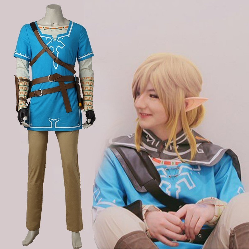 The Legend of Zelda Enlace Cosplay del Aliento de la Naturaleza traje Del Anime Uniforme de Halloween Carnaval Cosplay Adulto Hombres Camisa Azul Unisex