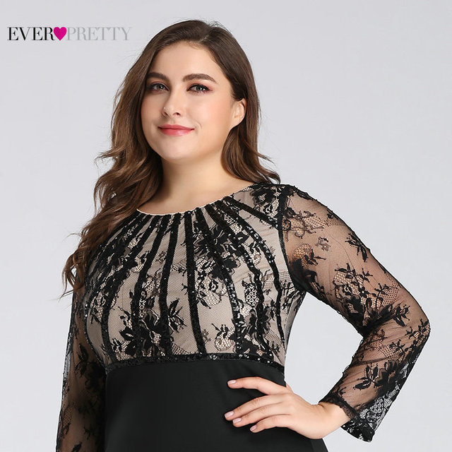 Plus Size Evening Dresses Long 2019 Ever Pretty Elegant Mermaid Lace Full Sleeve O-neck Robe De Soiree New Wedding Guest Gowns 4