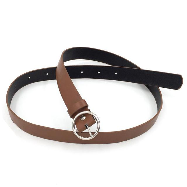 Solid Fashion Round Buckle Waist Casual Shape Belt