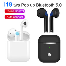 I19 TWS всплывающие мини беспроводные наушники Bluetooth 5,0 гарнитуры Стерео сенсорное управление наушники i7s tws с микрофоном pk i12 i10 i30 i20