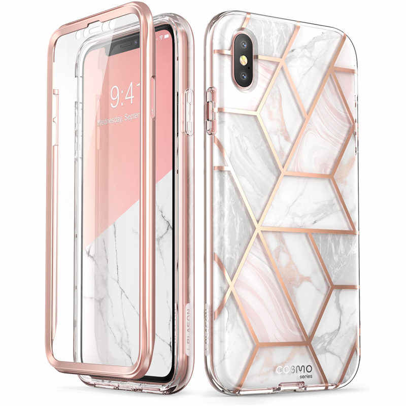 Untuk iPhone X Max Case 6.5 Inch Aku-Blason Cosmo Seri Full-Body Glitter Marmer Bumper Case dengan built-In Screen Protector