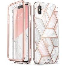 Para iphone xs max caso 6.5 polegadas i blason cosmo série completo corpo glitter mármore para choque caso com embutido protetor de tela