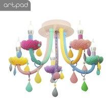5Head Crystal Sweet Pendant Lamp Maracon Colorful Glass Lustre Lamp Droplight Princess Bedroom Living Room Deco Lighting Fixture цена 2017