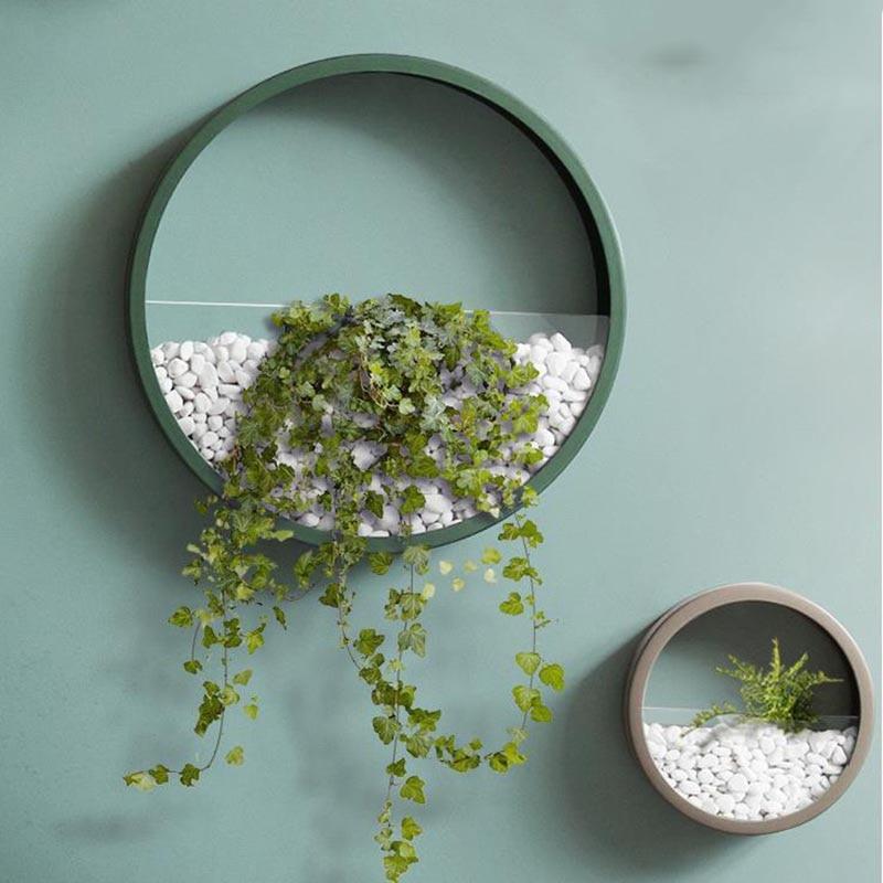 Creative Wall Vase Iron Art Solid Color Round Fashion Flower Vases Artificial Holder Shelf Bonsai Planter / Home Decor Crafts