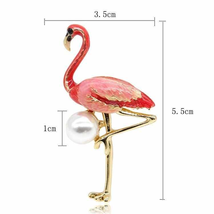 新ファッションかわいいエナメルフラミンゴブローチ女性模擬真珠鳥動物ブローチピンドレスコートアクセサリー Broches