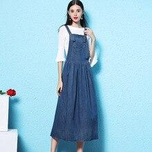 2019 Dress spring waist women cowboy Straps dress Overknee length denim summer show thin NW18C2870