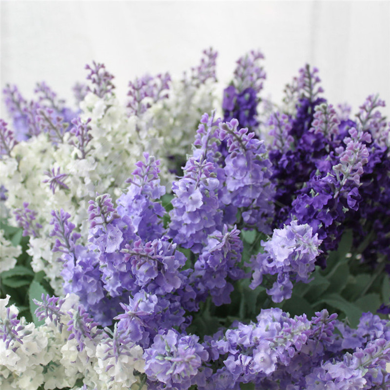 Home Decal Artificial Flower 7 ForksBranches Artificial Lavender Flower For Wedding Party Home Festival Decoration