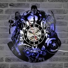 The Avengers Shape Vinyl Record Clock, Hollow Marvel Comics LED Wall Hanging Clock