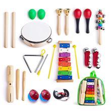 Instrumentos musicais para criança com bolsa de transporte, 12 em 1 música percussão brinquedo conjunto para crianças com xilofone, faixa de ritmo