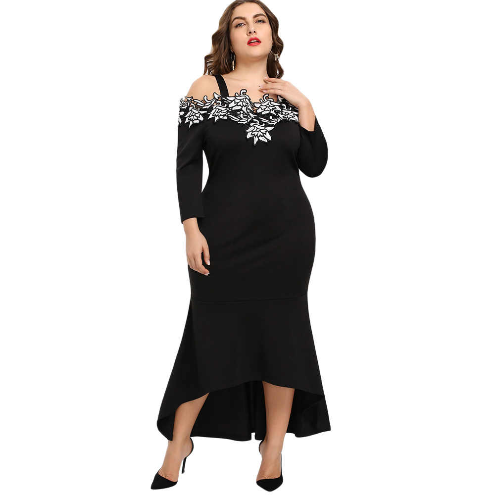 Wipalo 2018 Autumn Plus Size Embroidery Bodycon Mermaid Party Dress Women  Elegant Black Oversized Trumpet Dress 8118b1f434d2