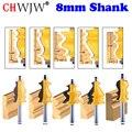 CHWJW 5 PC 8mm carcasa de vástago y conjunto de brochas de moldeo Base CNC línea cuchillo cortador de madera tenón cortador para herramientas para trabajar la madera