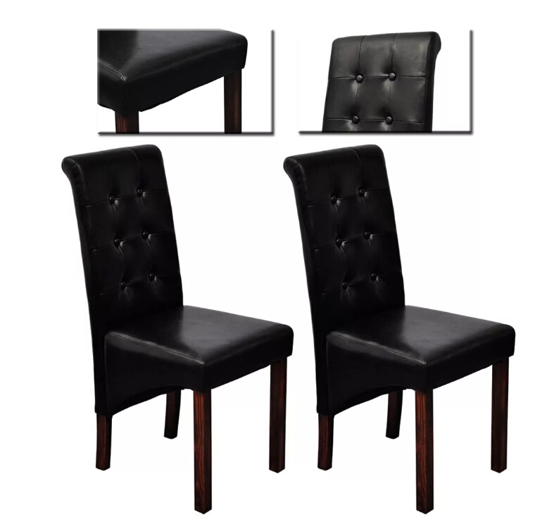 VidaXL 2 Pcs Black Dining Chairs Rounded Backs Comfortable Relax Living Room Chair Home Furniture Solid Color SeatVidaXL 2 Pcs Black Dining Chairs Rounded Backs Comfortable Relax Living Room Chair Home Furniture Solid Color Seat