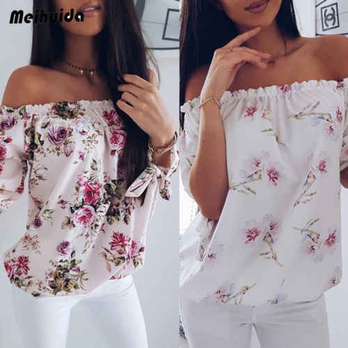 Womens Off The Shoulder Long Sleeve Printed Tops Casual Lace Up Shirt Blouse