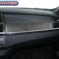 For bmw e70 e71 Carbon Fiber Car Copilot decoration strip Refit Frame Decor Stickers x5 x6 2009 2013 Car Interior Accessories