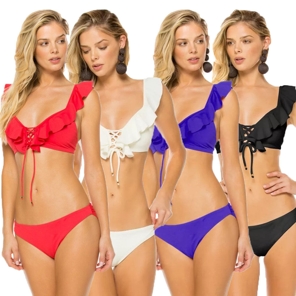 Padded Bra Bikini Set Swimsuit Women Ruffle Bandage Cross Push up Swimming Suit Triangle Swimwear Bathing SuitPadded Bra Bikini Set Swimsuit Women Ruffle Bandage Cross Push up Swimming Suit Triangle Swimwear Bathing Suit