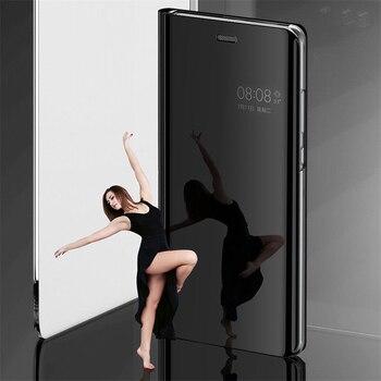 Espejo inteligente caso Flip funda para Huawei Y5 Y6 Y7 primer 2018 Y9 de lujo 2019 transparente funda Jkke