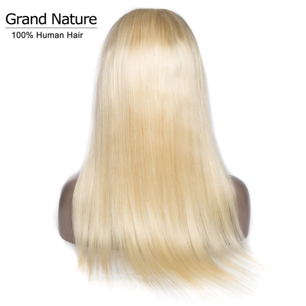 European Women Straight Full Lace Human Hair Wigs 150% Density Remy Hair #613 Light Blonde Full Lace Wig 8-28inch