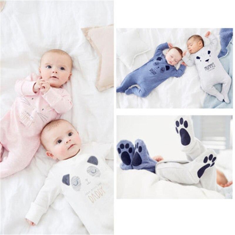 dc4b766ddfadb UK Newborn Infant Baby Girls Boys Daddy Mummy Babygrow Sleepsuit Romper Hot  New Cute Bear Baby