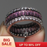 Fashion Jewelry Women Engagement ring Princess cut 15ct 5A Zircon stone Pink Cz 925 Sterling Silver Female Wedding Band Ring