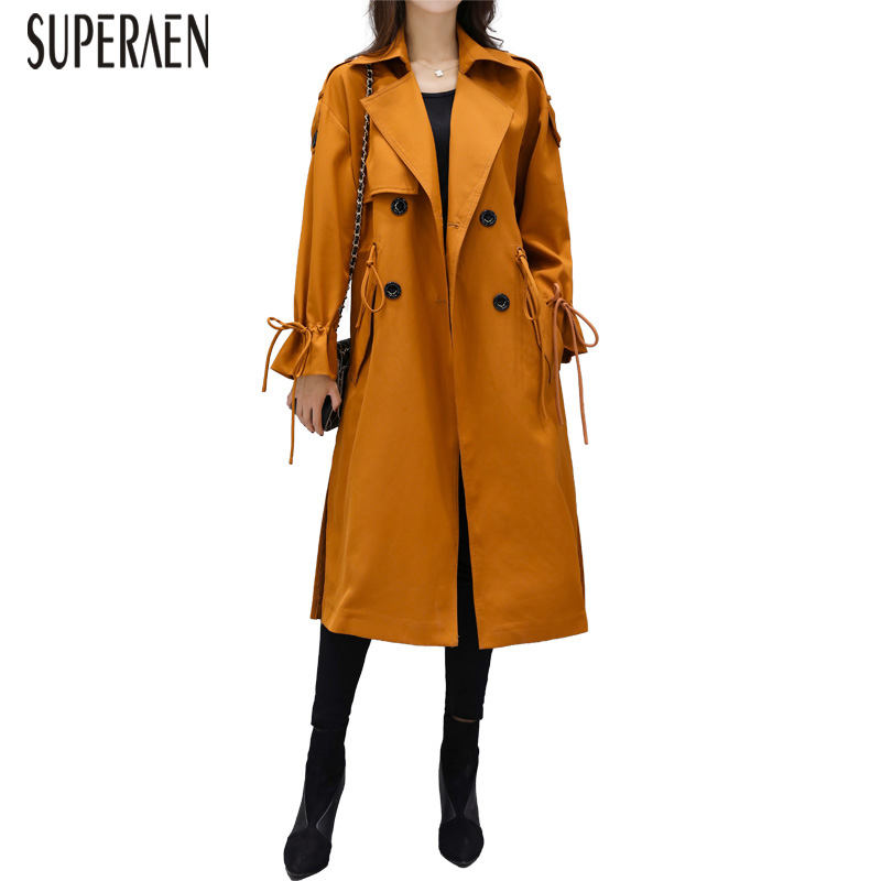 SuperAen   Trench   Coat for Women Wild Cotton Casual Fashion 2019 Spring and Autumn New Ladies Windbreaker Pluz Size Women Clothing