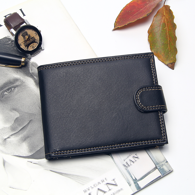 Luxury Black Men Wallets Leather Bifold Short Wallet For Men Hasp Slim Standard Purse Male Billetera Hombre Clutch Money Bag