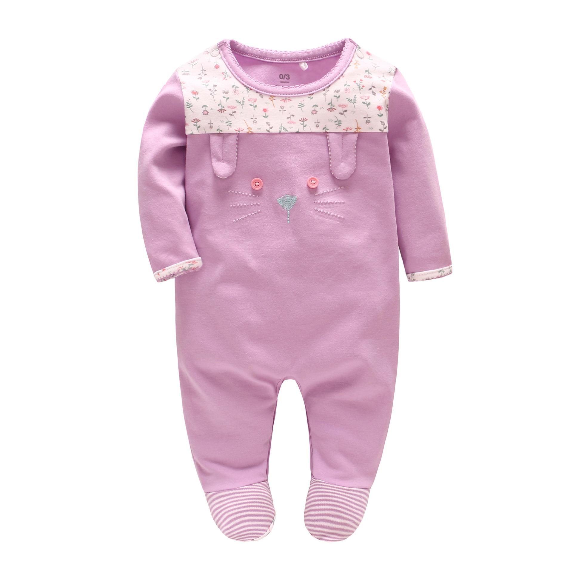 Vlinder 2018 ropa de bebé para niños ropa de bebé niña ajustada mono de manga larga de algodón de gato lindo primavera otoño pijamas infantiles