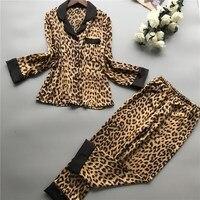 2019 Spring New Women Ice Silk Leopard Print Long Sleeve Pajamas Long Sleeve Thin Pajama Sets