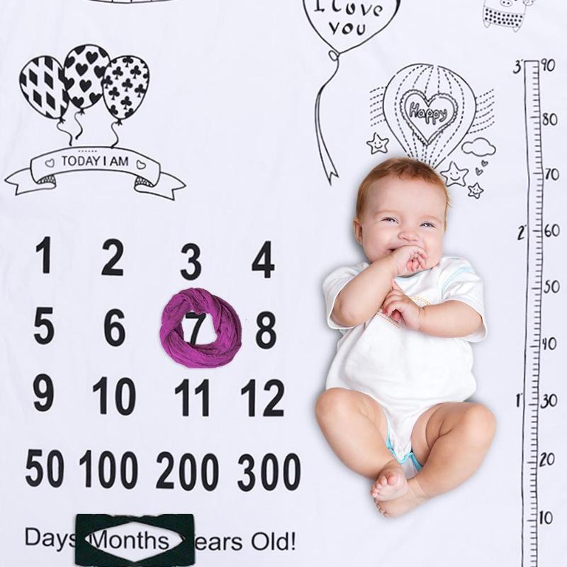 Cute Baby Photography Milestone Blanket Cartoon Print Blanket Background Cloth Newborn Baby Photography Props Decor Soft Blanket