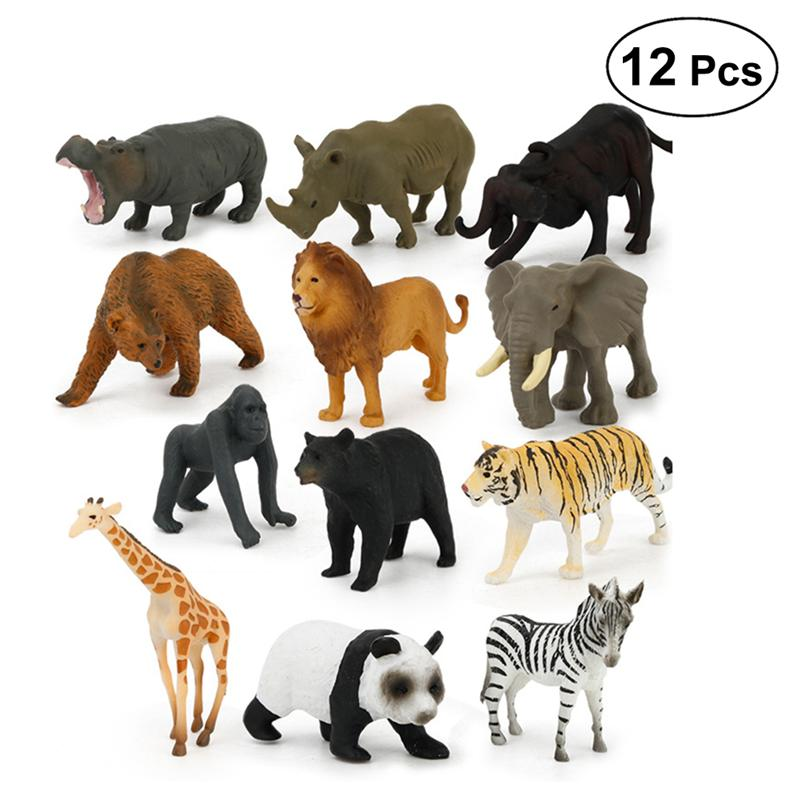 12pcs Wild Animal Toy Set Educational Similation Plastic Wild Animal Party Favors Figures