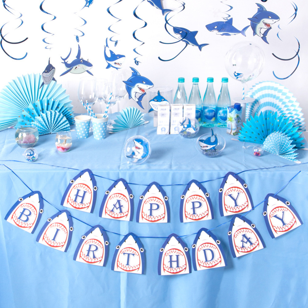 Shark Party Happy Birthday Banner Hanging Decorations Baby Boy Shower Kids Birthday Party Favor Pool Party Ocean Themed Party in Party DIY Decorations from Home Garden