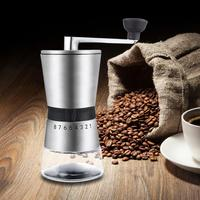 Mini Manual Ceramic Coffee Grinder Stainless Steel Adjustable Coffee Mill with Storage Rubber Loop Easy Cleaning