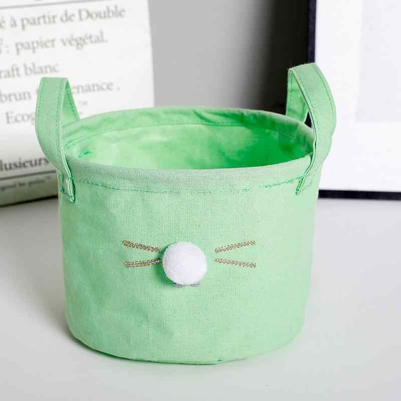 Brinquedo do Gato Bola de cabelo de Pano Cesta do Armazenamento com Punho Papelaria Caixa De Armazenamento De Lavanderia Cesta de Cosméticos Organizador Fontes Do Banheiro