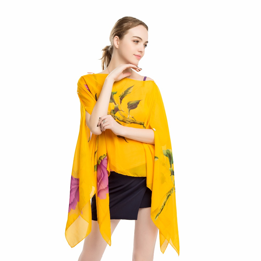 Constructive Rose Printed Chiffon Bikini Swimsuit Wrap Pareo Beach Wrap Shawl Capes Summer Sarong Dress Cover Up Women Suntan Scarfs